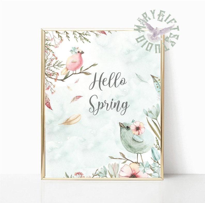 Print Spring Wall Art Hello Spring print,Hello Spring sing,Hello Spring Printable Wall Art Great Tit Bird Watercolor Spring Printable