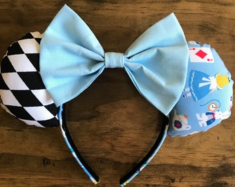 Alice in wonderland inspired mouse ears/harlequin print/teapots/white rabbit/red queen/mad hatter/ Cheshire Cat
