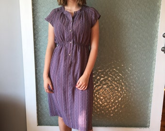Mauve Print '70s Day Dress