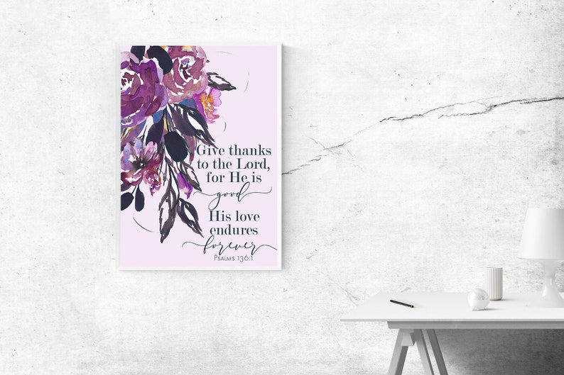 Give Thanks, Biblical Wall Art, Inspirational Quote, Bible Decor, Jewish  Inspirational Quote, Jewish Wisdom, Printable Wall Art, Psalms
