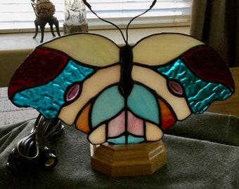 Stained glass butterfly fan lamp