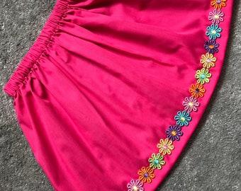 Handmade girls skirt with daisy trim