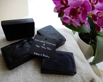 Activated Charcoal & Tea Tree Essential Oil - Handmade Vegan Face and Body Bar - Spa