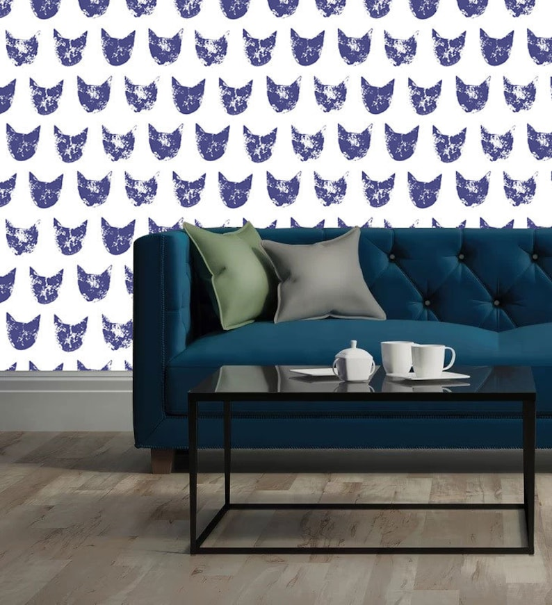 Brilliant blue cat pattern self adhesive removable wallpaper  Wall decor Tapestries Home decor Wall Art Wall hangings