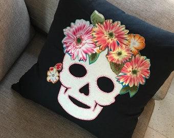 Floral Sugar Skull Throw Pillow