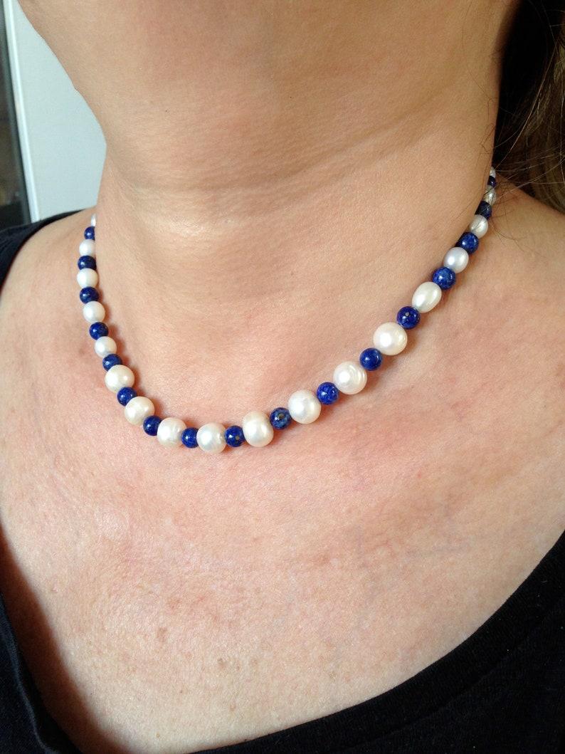 ff2148de9502 Collar de Perlas y Lapislázuli regalo para mujer. Joya
