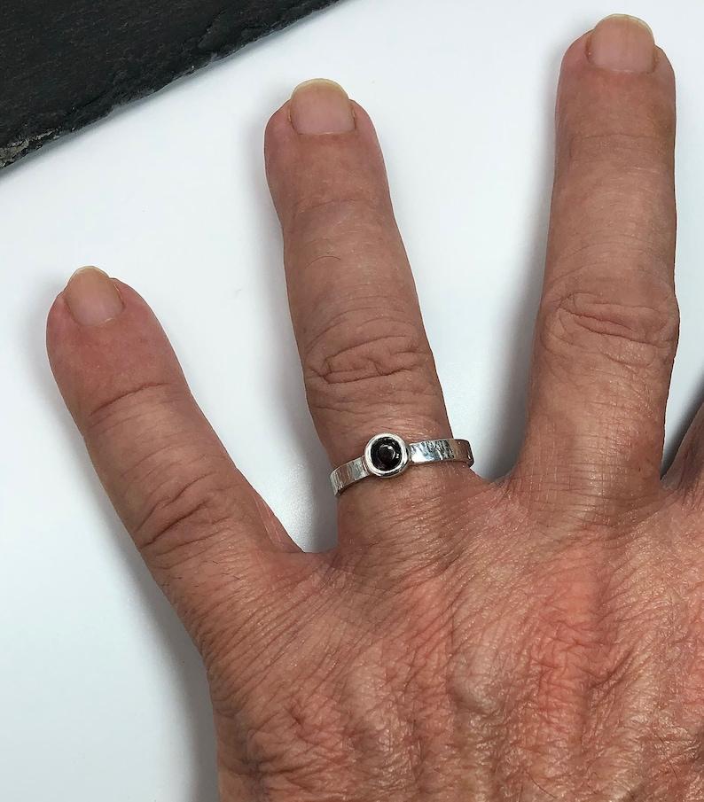 Simple garnet ring January birthstone gift Garnet Ring hammered silver Almandine garnet 0.18 dainty ring Natural garnet stacking rings