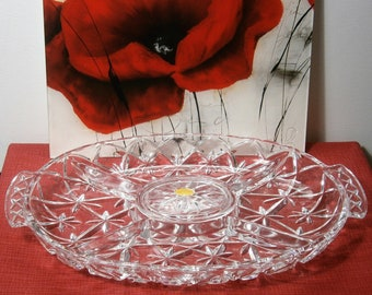 Vintage lead crystal 5-compartment serving bowl 35 cm Germany