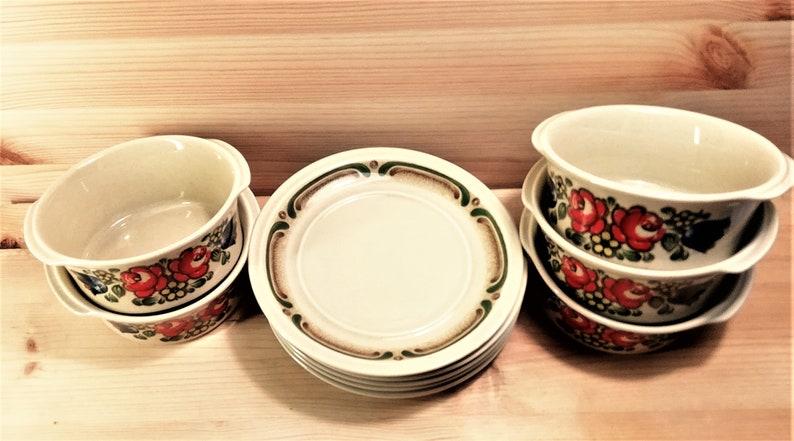 WINTERLING soup bowls and matching plates 5 sets 1970s  Bavaria Majolica G431
