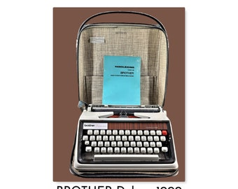 Vintage 1970s great working BROTHER Deluxe 1000  typewriter.   T023