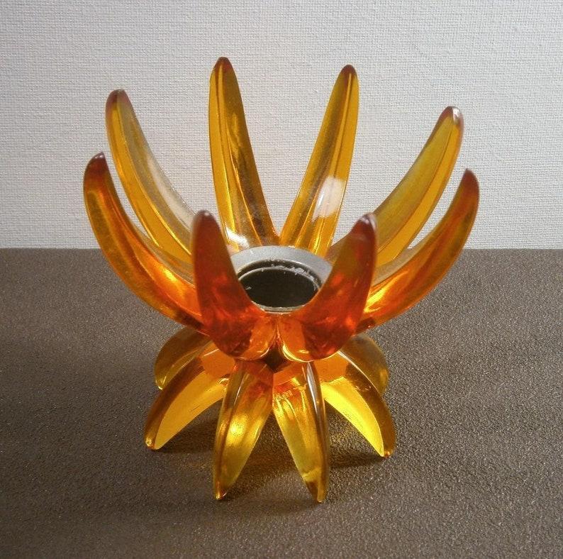Vintage Design Kandelaar.G104 Vintage Friedel Design Kandelaar Oranje Kunststof En Metaal
