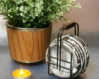 Vintage 3-piece stoneware ashtrays in storage rack, WGP/West German Pottery
