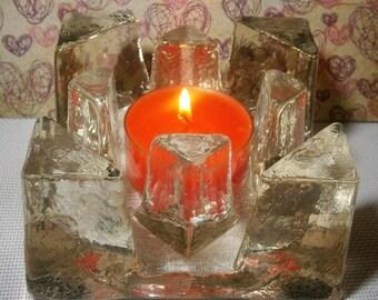 Vintage heavy icy glass rechaud, theelicht theewarmer Georgshutte 1970's