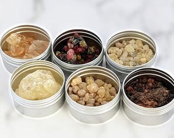 Resin incense sampler gift set - granular incense - charcoal incense - home fragrance - 6pc resin gift set