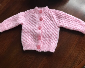Hand Knitted Cardigan 0-3 Months Girl