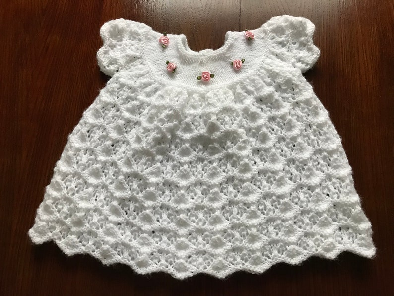 Bonnet Dress Mittens and Bootees set Premature Hand Knitted Girls Matinee Coat
