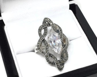 Sterling and Marcasite Ring- Size 6.25 -Sterling Silver Ring - Sterling Silver Ring -  Marcasite Ring - Sterling 925 - Hallmarked