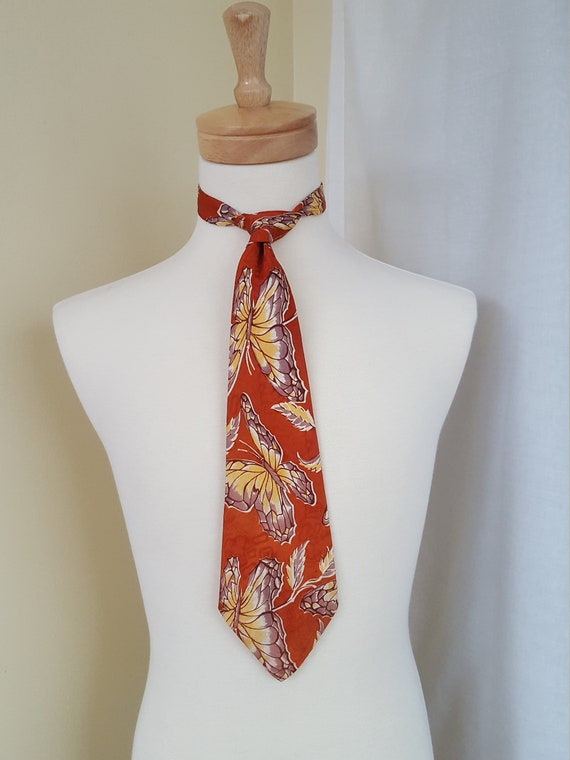 1940s Butterfly Print Tie  Art Deco Tie