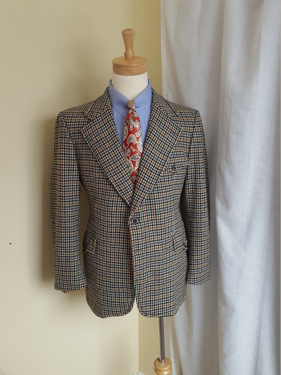 "1950s 1960s "" Crombie "" Scottish Wool Houndstooth"