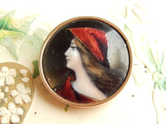 Antique French Enamel 14k Gold Portrait Pin