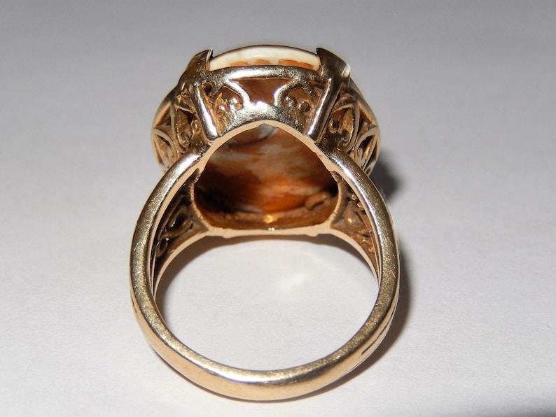 Vintage 14k Gold Operculum Shell Cats Eye Ring sz 7