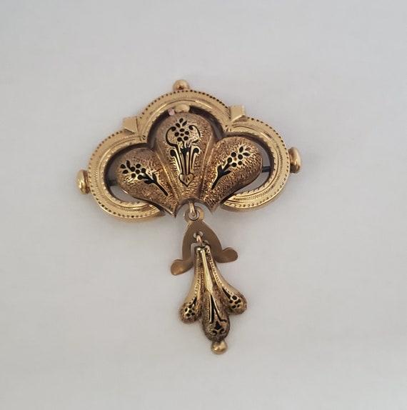 Antique Victorian Gold Taille d'Epargné Black Enam