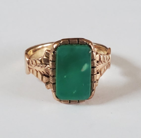 Antique Victorian 10k Gold Chrysoprase Ring Sz 5