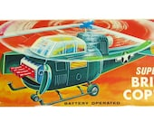 Vintage 1960 39 s Horikawa Battery Operated Attack Helicopter Copter Tin Plastic Mint with Original Box Works
