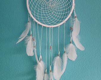 "Dreamcatcher-Peace 10""-White feather-Boho Decor-Dream catcher-Wall Hanging-Boho Dreamcatcher-Gypsy Decor-Bohemian Decor-Gift For Her"