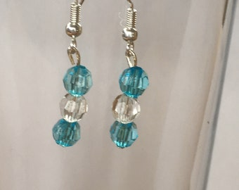 Sterling Silver ( hook only) Blue and Clear Earrings