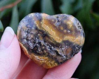 Ocean Jasper Heart | Healing Stone | Mini Crystal Heart | Altar + Meditation Stone