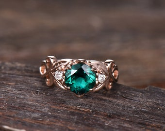 Emerald Ring Rose gold May's birthstone Engagement Ring Handcrafted 14k or 18k