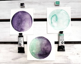 Daniel Smith Watercolour Half Pans Amethyst and Fuchsite Genuine, Primatek Colours