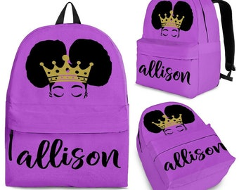 a0f0bc9ad5e Afro Puff Crown Backpack - Backpack For Girls - Custom - Customized -  Personalized - Princess - Queen - Book Bag For Woman - natural hair