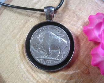 Silver Tone mm Coin Pendant Handmade Jewelry Unisex 20 Black Necklace Jamaica Kingston 1 Penny 1953-1963 National Emblem
