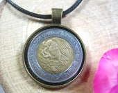 Eagle Snake on Cactus Mexico 2 Pesos Mexicanos Bi-metal Bronze Tone 25mm Bezel Coin Pendant Handmade Jewelry Necklace