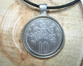 Butterfly on Flowers Jamaica 10 Cents 1969-1989 Silver Tone 25mm Bezel Coin Pendant Handmade Jewelry Necklace