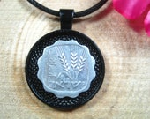 Three ears of Wheat Israel Jerusalem Israeli Jewelry All Black 25mm Handmade Coin Pendant 20 quot Necklace Unisex His Hers