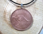 Hopping Kangaroo King George VI Aussie Roo Australian Jewelry 20 quot Black Cord Necklace Handmade Pendant