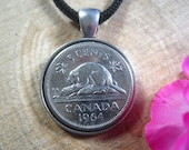 Canadian Beaver Canada 5 Cents 1963-1964 Silver Tone 22mm Coin Pendant Handmade Jewelry 20 quot Black Necklace Unisex His Hers