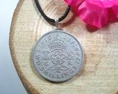 Crowned Tudor Rose Thistle Shamrock British Jewelry 18 quot Black Necklace Handmade Pendant