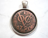 Dutch East 1790 VOC Duit 227 Years Old Spice Trade Pirate Shipwreck Coin Netherlands Indies Silver Tone 22mm Bezel Pendant Jewelry Necklace