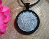 Maroc Empire Star Morocco 1951 AH1370 1 Franc All Black 25mm Handmade Coin Pendant 20 quot Necklace Unisex His Hers
