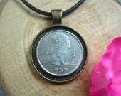 Belgique Lion Belgium 1 Franc 1939 World War II Belgie Antique Bronze 25mm Bezel Coin Pendant Jewelry Necklace Chain