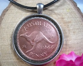 Kangaroo Roos Australia 1 Penny 1938-1948 Aussie Antique Silver Tone 35mm Bezel Coin Pendant Handmade Jewelry Necklace Chain