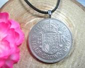 Half Crown United Kingdom 1954-1970 Great Britain UK Queen Elizabeth II British Jewelry 18 quot Black Necklace Handmade Pendant