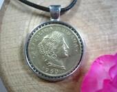 Peruana Libertad Peru Lima Peruvian Jewelry 20 Centavos 1951-1965 Silver Tone 25mm Bezel Coin Pendant Handmade Necklace