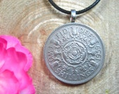 Central Tudor Rose Thistles Shamrocks Leeks Queen Elizabeth II British Jewelry 18 quot Black Necklace Handmade Pendant