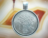South Vietnam Bamboo Tree VIỆT-NAM 1 Dong 1960 Viet Nam Antique Silver Tone 23mm Bezel Coin Pendant Handmade Jewelry Necklace