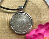 Aztec Mayan Calendar Mexico 1936-1946 10 Centavos Antique Silver Tone 25mm Bezel Coin Pendant Handmade Jewelry Necklace